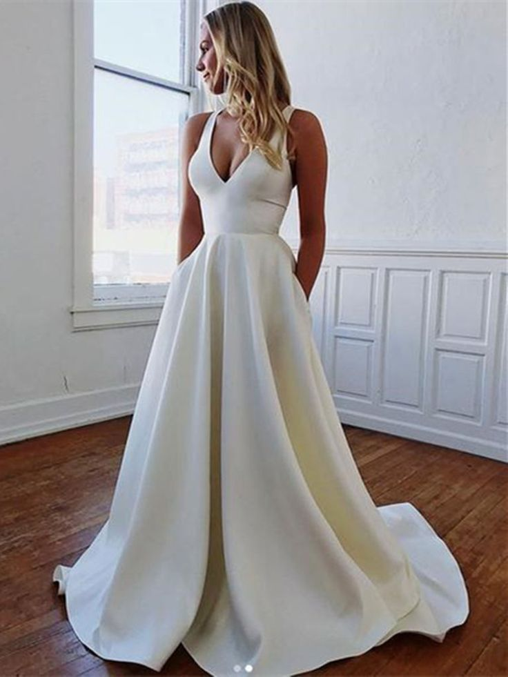 Simple v neck white satin long prom dresses, V neck white satin long f – morievent