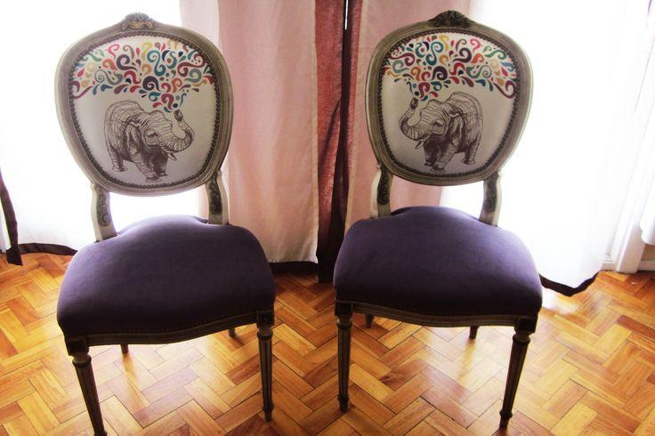 Sillas medallón Luis XV. Tapicería con telas de diseño: www.estampares.com. Géneros de diseño. Diseños exclusivos. Estampados.