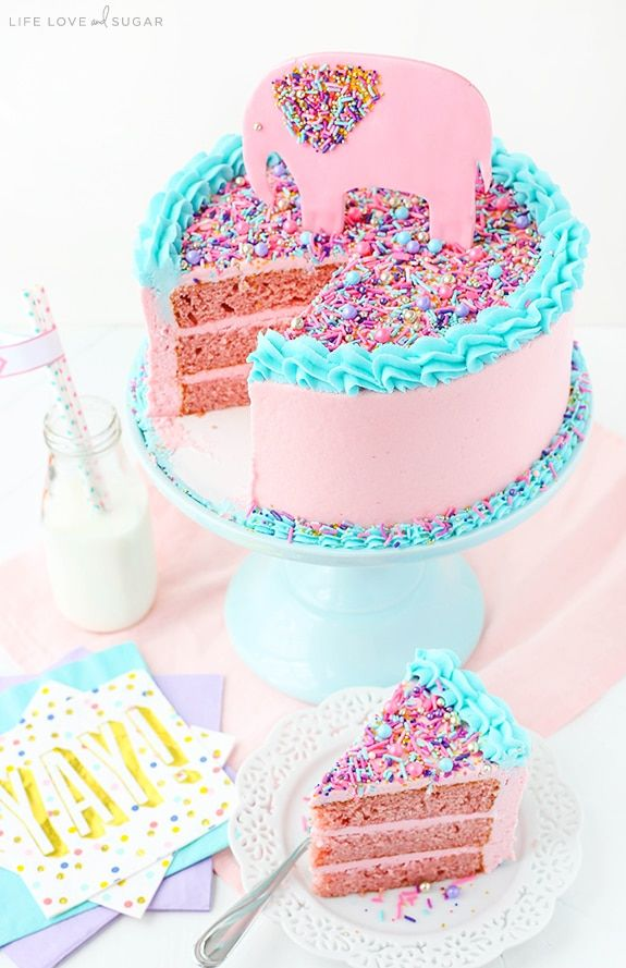 Strawberry Layer Cake full of fresh strawberries for flavor! Covered in sprinkles for a cute baby shower cake!