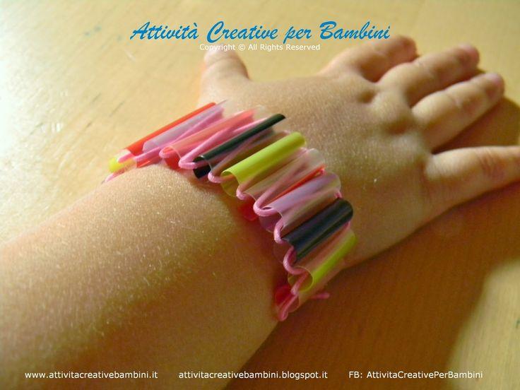 Attività Creative Per Bambini: Bracciali alla moda con le cannucce Kids crafts: bracelets with straws