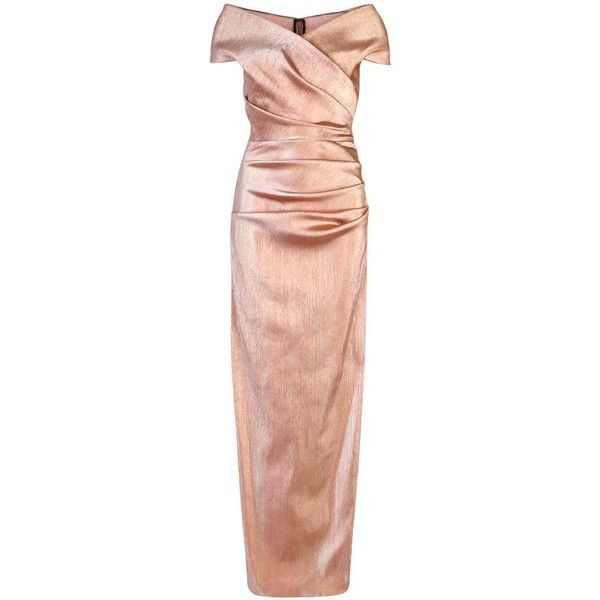 Womens Gowns Talbot Runhof Rose Gold Ruched Lamé Gown featuring polyvore, fashion, clothing, dresses, gowns, red ruched dress, ruched evening gown, rose gold gown, off the shoulder dress and off the shoulder evening dresses