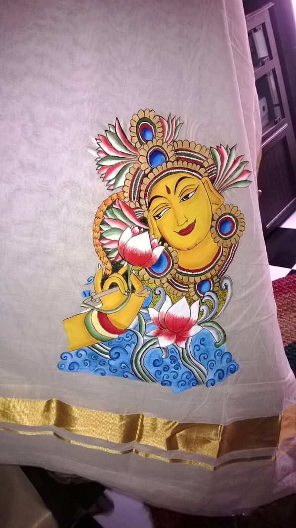 Mural Art on Kerala Sari from Nimmy's Creations