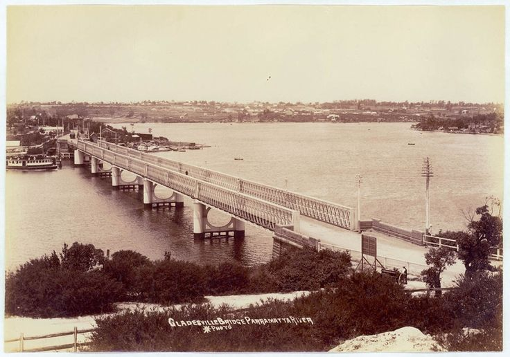 The old Gladesville Bridge, photo taken from the Gladesville side of Bridge, NSW ca.1910. v@e