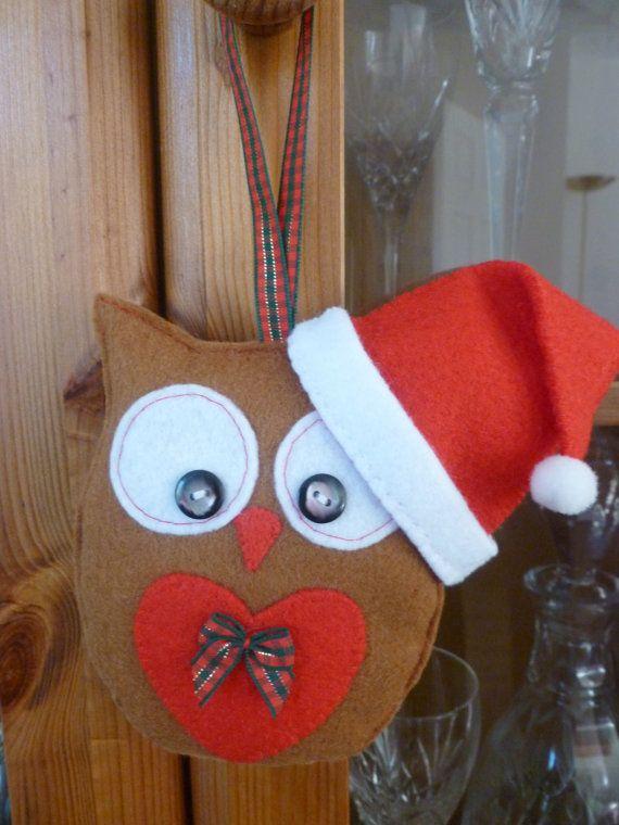 Gufo addobbo fatti a mano del feltro di Natale di SewJuneJones