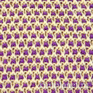 Двухцветный узор № 12 - Полотно, связанное этим узором, упругое, хорошо держит форму и, вместе с тем, мягкое и пластичное. Отлично подойдет для жакетов, кофт, свитеров и, особенно, детских изделий.