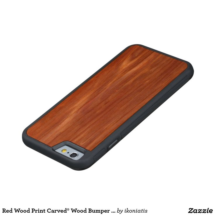 Red Wood Print Carved® Wood Bumper Case
