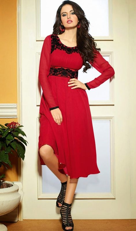 Be the cynosure of all eyes draping this red georgette flared tunic. The ethnic resham work with a attire adds a sign of splendor statement to your look. #SexyClassicalTunicKurtis