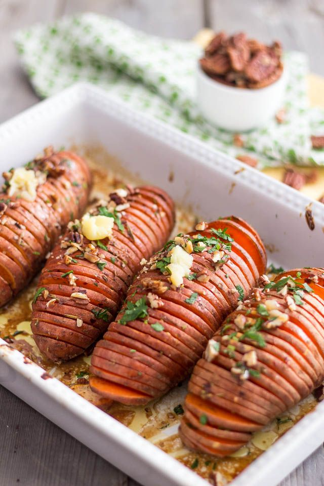 Hasselback Sweet Potatoes | by Sonia! The Healthy Foodie @Sonia! The Healthy Foodie