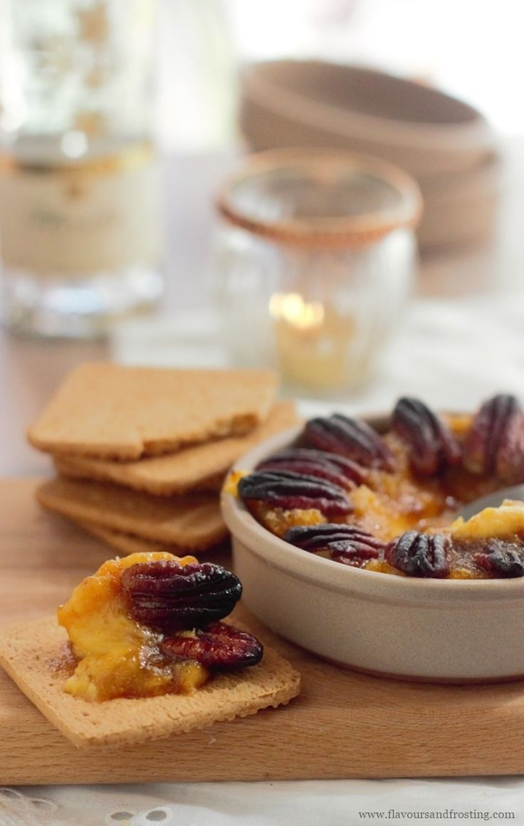 Easy Sweet Potato Pie Dip topped with toasted buttery candied pecans! A great SUBSTITUTION for a SWEET POTATO PECAN PIE but so much easier and faster to make! You will be the talk of the town (or your family) on Thanksgiving Day!