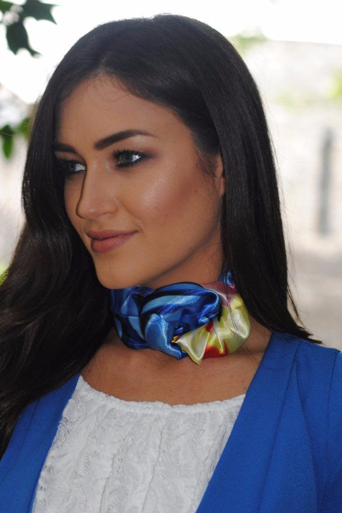Blue Red and Yellow Tie Neckerchief stunning silk scarf is perfect to tie around your neck in numerous ways