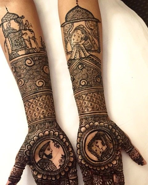 Rajasthan Theme Mehndi Design on Arms http://www.maharaniweddings.com/gallery/photo/88645