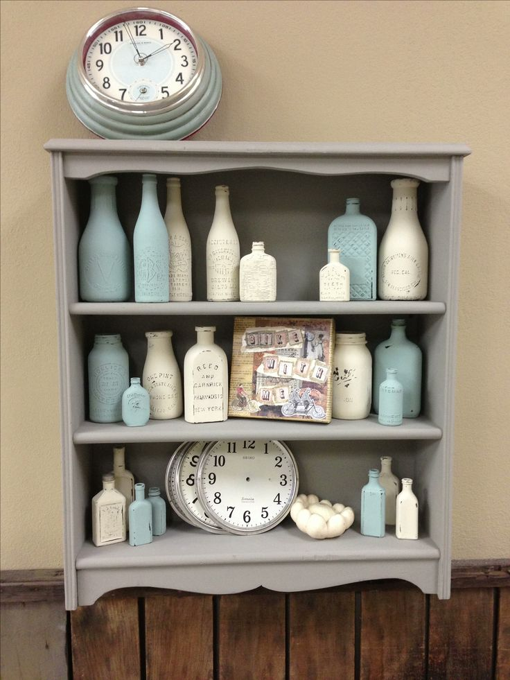 Chalk Paint® by Annie Sloan on old pharmacy bottles!  www.patinahomeandgarden.net