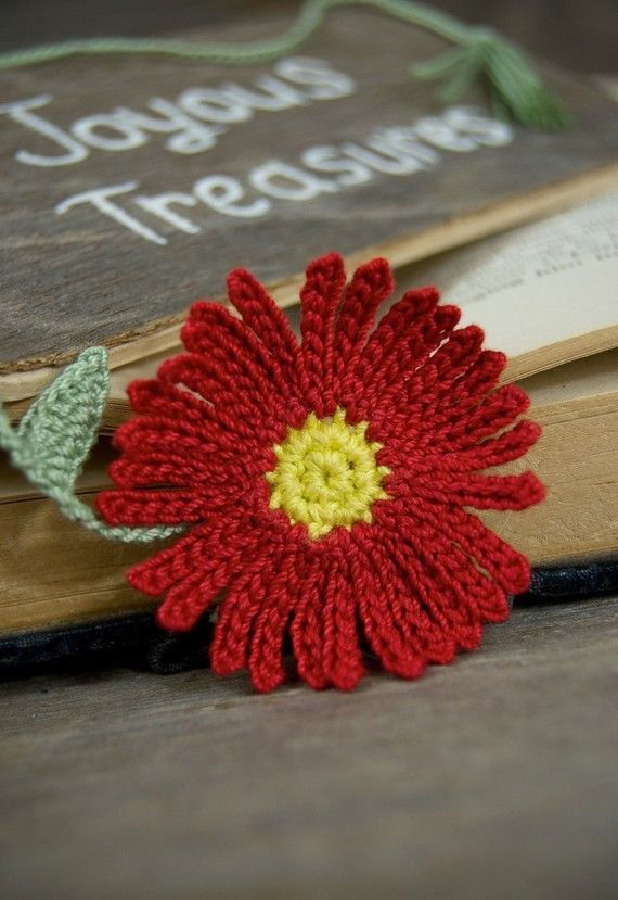 Handmade Crochet Bookmark Red Aster Flower by joyoustreasures, $15.00