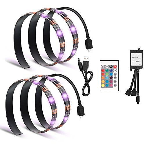 Genround Bias Lighting for HDTV USB Powered TV Backlighting LED Light Strip 2x MultiColored Backlight for TV Home Theater PC Reduce eye fatigue and increase image clarity * Check out this great product.