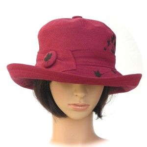 TRAVELLER ~ cranberry red hemp/organic cotton with maple leaf print - Rosehip Hat Studio
