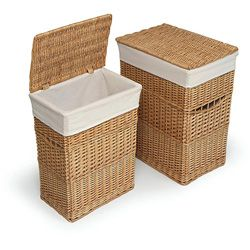 2  @Overstock - Add storage for dirty laundry to any area with these wicker laundry hampers featuring sturdy construction with wicker materials and removable fabric liners for easy machine washing. This hamper set is great for bathroom, nursery or bedroom use.http://www.overstock.com/Baby/Natural-Hamper-with-Liners-Set-of-2/3153122/product.html?CID=214117 $53.99