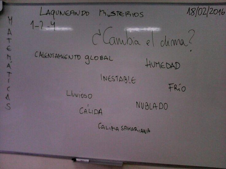 Hoy, día 18-02-2016 en Matemáticas ,nos preguntaron si cambiaba el clima en Tenerife,y yo respondí que sí a causa de los Gases de Efecto Invernadero que calientan la Tierra.( Calentamiento Global).