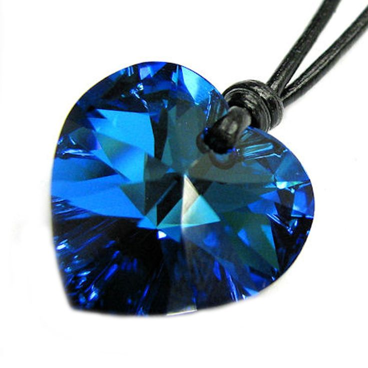 "Swarovski Elements Crystal Bermuda Blue Heart Love Charm Pendant 18mm Black Waxed Cotton 1mm Necklace 14"" 16"" 18"" 20"" 22"" 24"" Adjustable Made with Swarovski Elements:"