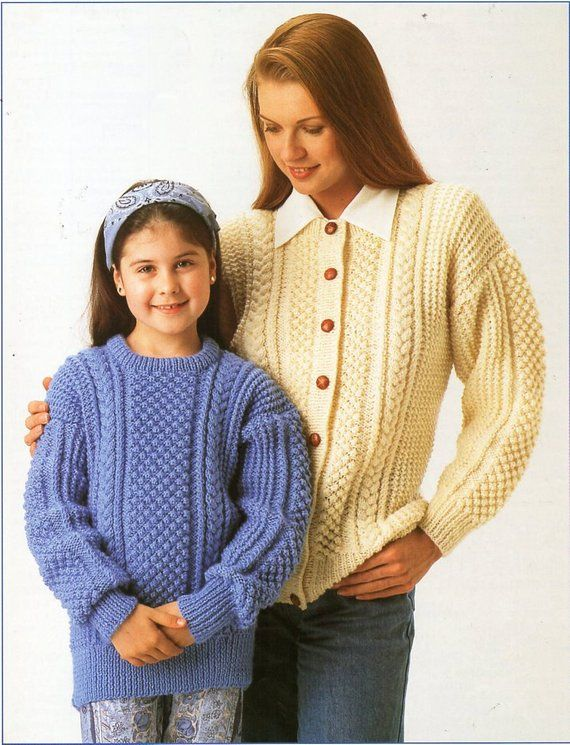 d107a1cc6 womens childrens aran sweater cardigan knitting pattern PDF ladies cable  jumper jacket 24-44 inch aran worsted 10ply Instant Download