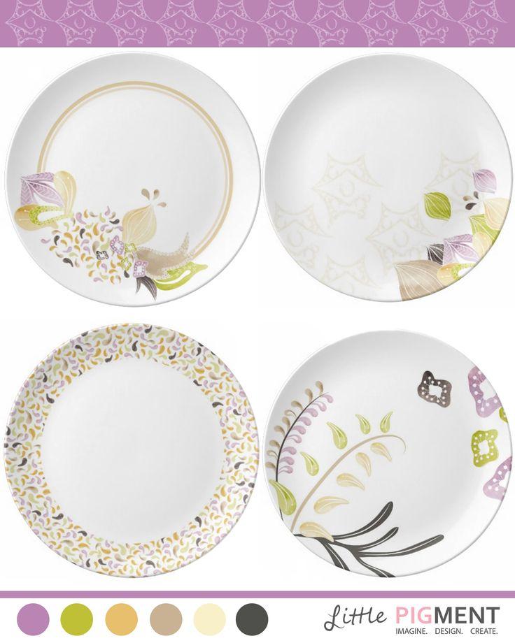 A set of floral paisly inspired plates. #MATS #MATSA #MakeArtThatSells #Paisly #Floral