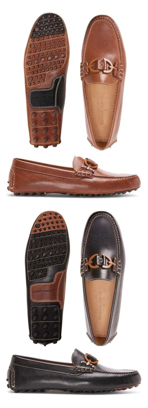 DONALD PLINER Waxy Calf Leather Driving Loafer