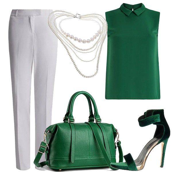 Una bella tonalità di verde viene abbinata al bianco dei pantaloni, da indossare con una camicia senza maniche con colletto, dei sandali con tacco alto e cinturino alla caviglia e una borsa bauletto. Una collana con giri di perle multipli completa la proposta.