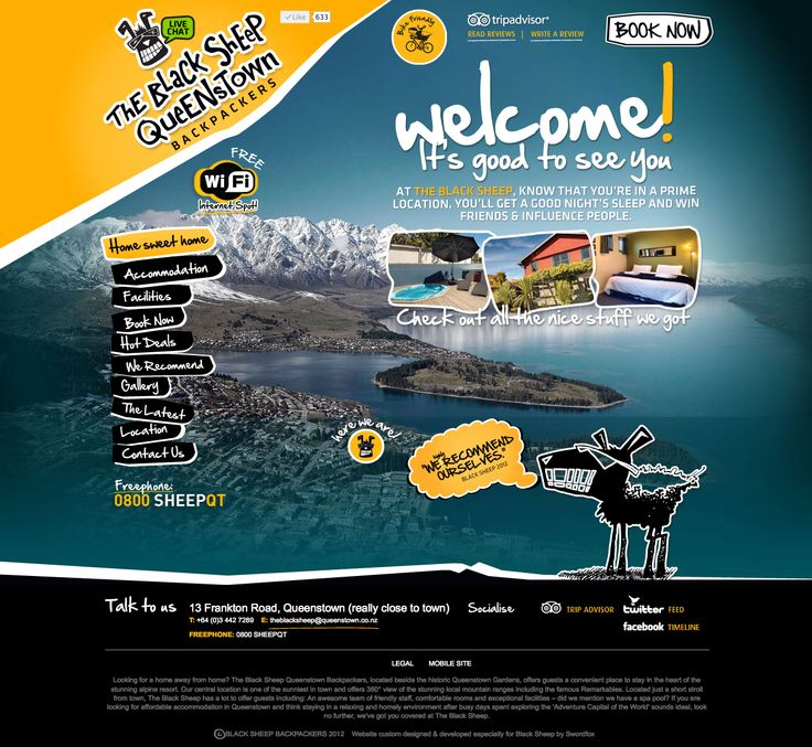 Black Sheep Backpackers in downtown Queenstown is a successful budget accommodation provider with a quirky personality. Swordfox designed and developed their new website. http://www.blacksheepbackpackers.co.nz