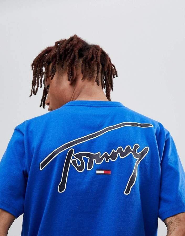 14f6ca2e Tommy Jeans Signature Capsule Logo Front and Back Print T-Shirt Relaxed Fit  in Blue