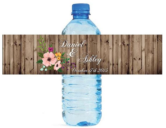 Rustic wood and flowers floral Wedding Water Bottle Labels