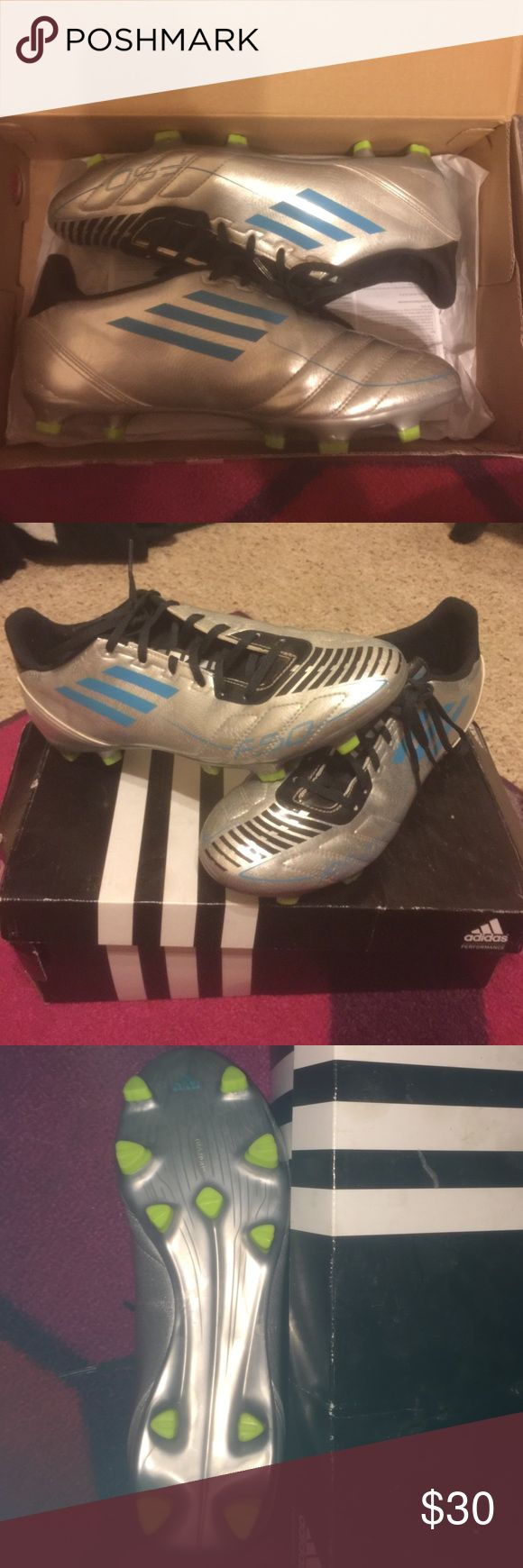 Silver and blue Adidas F10's TRX FG Silver and blue F10'S TRX FG. Women's size 9. Only worn once. Adidas Shoes Athletic Shoes
