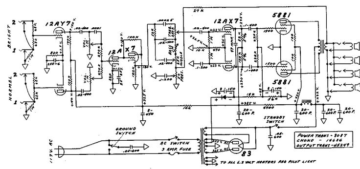 Fender Bassman Tube Amp Schematic - Model 5F6