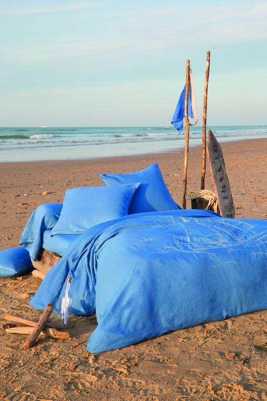 Parrure de lit lin Pleine mer housse de couette 135x200 & taie - Sylvie Thiriez
