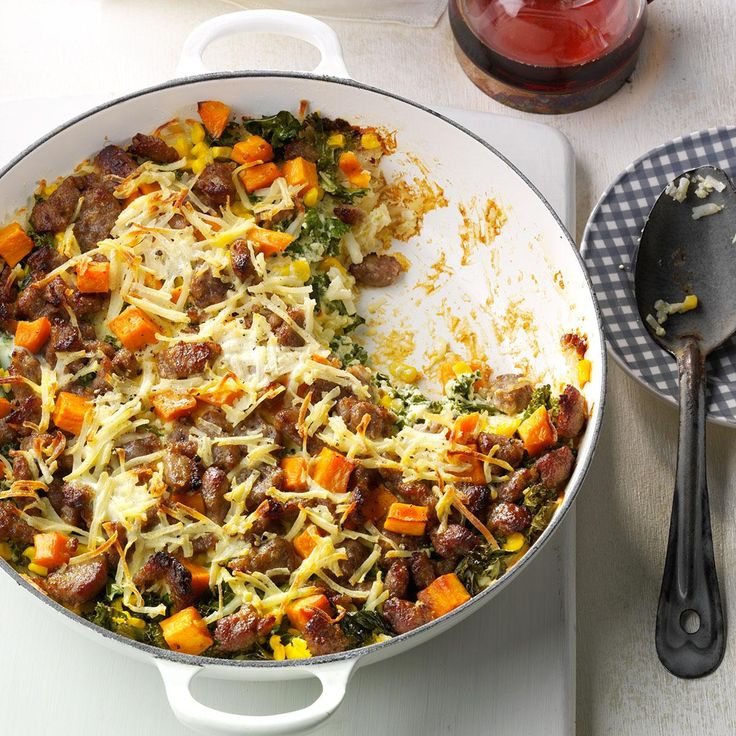 Hash Brown Maple Sausage Casserole Recipe -This crave-worthy casserole has a golden hash-brown crust that's topped with sausage and veggies. My favorite part is the surprise layer of gooey Gruyere. —Anuja Argade, Foster City, CA