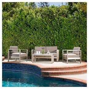 The Christopher Knight Home Cape Coral 4-piece Cast Aluminum Patio Loveseat Set with Cushions perfectly exudes a modern feel to any outdoor living space. With its unique and eye-catching design this set offers taste and functionality to your outdoor space. The combination of natural and industrial looking elements compliments any style of décor and the aluminum and waterproof cushions make this set an immediate statement.