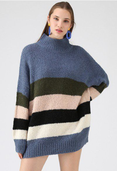 76089a0da2 Chasing The Rainbow Turtleneck Sweater Dress in Blue. Chasing The Rainbow Turtleneck  Sweater Dress in Blue Pink Sweater