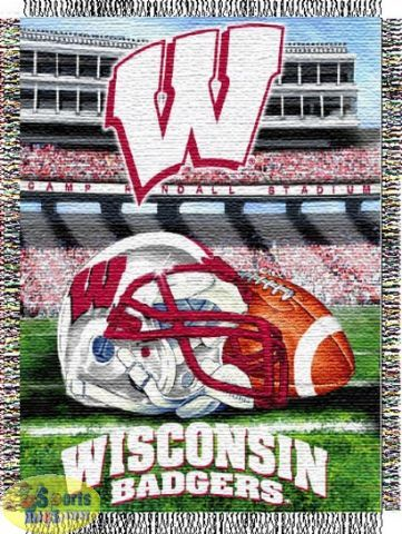 """Northwest Wisconsin Badgers """"Home Field Advantage"""" Tapestry Throw"""