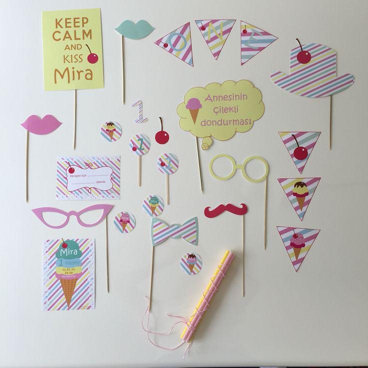 dondurma temali dogum günü partisi photobooth,davetiye,dilek kartları