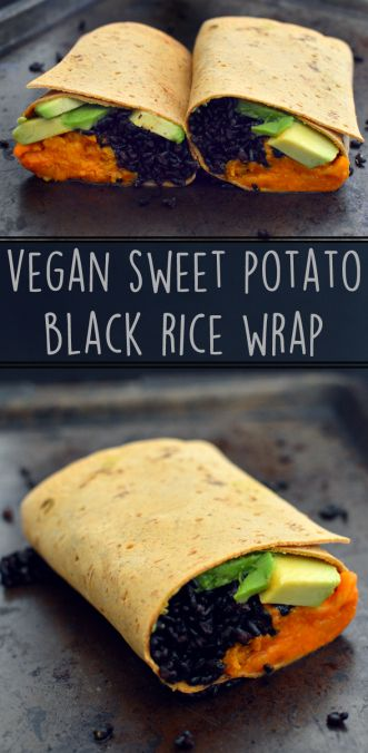 Vegan Sweet Potato Black Rice Wrap - 3 Vegan Lunch Ideas - Easy - Rich Bitch Cooking Blog
