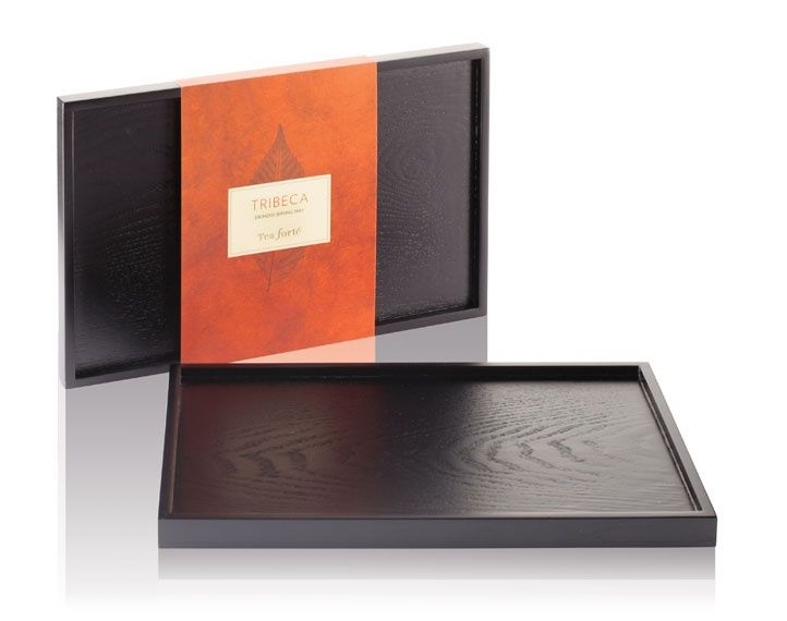 Tribeca Tray - Sleek, modern and jet black this ebonized hardwood serving tray is designed to showcase the Solstice teapot, as well as the Solstice cup and saucer.