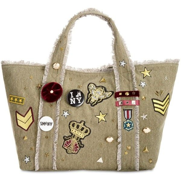 Steve Madden Grady Large Canvas Tote with Patches & Pins ($98) ❤ liked on Polyvore featuring bags, handbags, tote bags, army green, steve madden tote, brown canvas tote, steve madden purses, brown tote and steve madden tote bag
