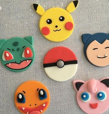Pokemon Themed Edible Cake Cup Cake Toppers Birthday Wedding  Decoration