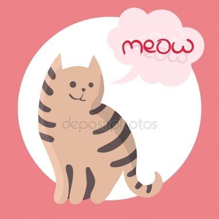 Векторная иллюстрация цвета рука нарисованные эскиз кошки с Мяу текст в облако формы речи пузырь. Мультфильм кошка характер. Векторные иллюстрации —  Векторное изображение © tinkerfrost #158913884