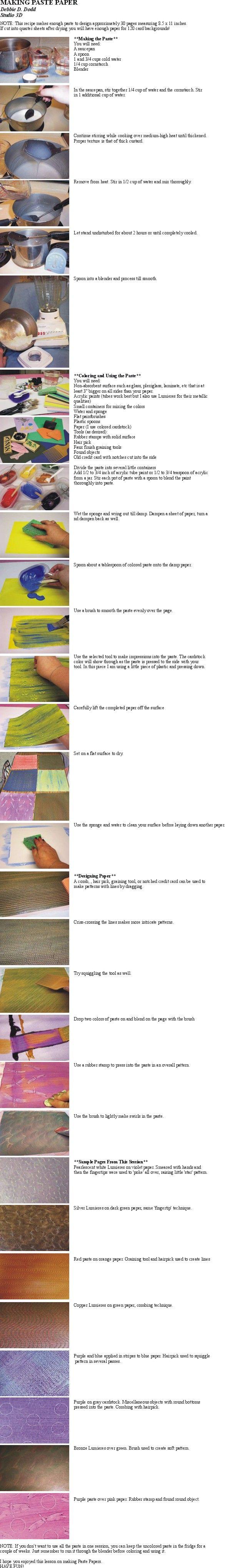 making paste paper by Debbie D. Dodd Studio 3D