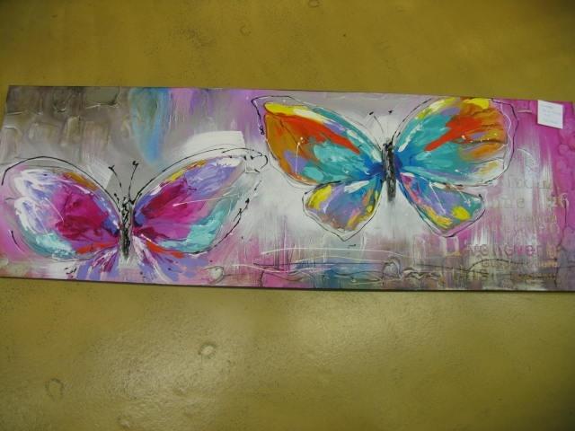 Cuadro, pintura con mariposas. 150 x 50 cms