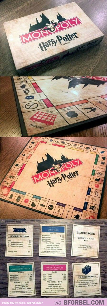 Monopoly Harry Potter Edition! I NEED THIS!!!!!