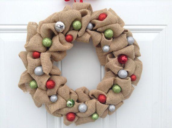 Guirlande de Noël, couronne de toile de jute, porte Couronne, couronne de fleur feutrine, toile de jute et boules scintillantes