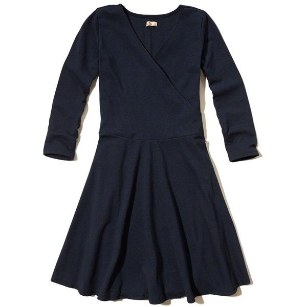 Hollister Wrap Front Knit Dress ($19) ❤ liked on Polyvore featuring dresses, navy, going out dresses, navy blue knit dress, navy dress, knit dress and night out dresses