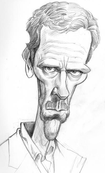Hugh Laurie Pencil drawing by Tom Richmond