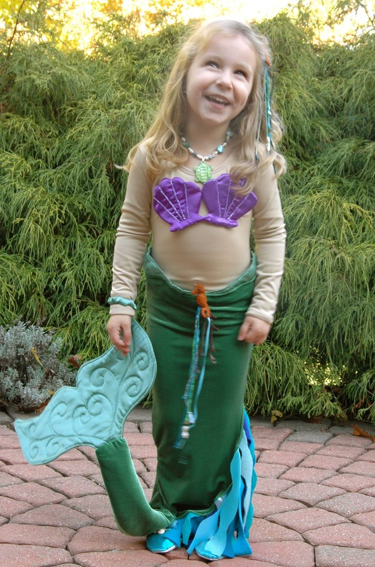 homemade mermaid costume - like the aqua tights and ballet flats underneath. Nice idea overall.