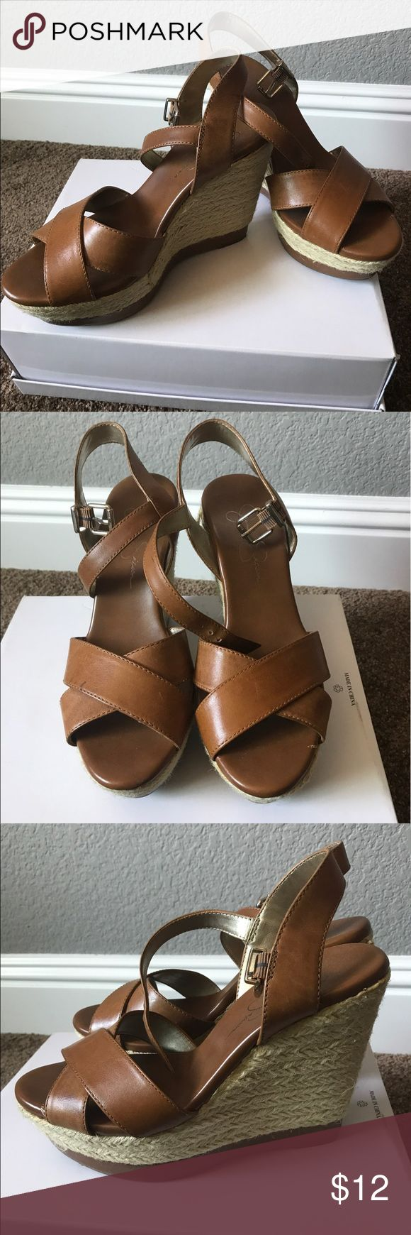 Jessica Simpson wedges Sz. 7 Jessica Simpson cognac wedges Sz. 7. Used and in good condition, too tall for me! Jessica Simpson Shoes Wedges